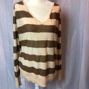 Free People Top Long Sleeve V-Neck Striped